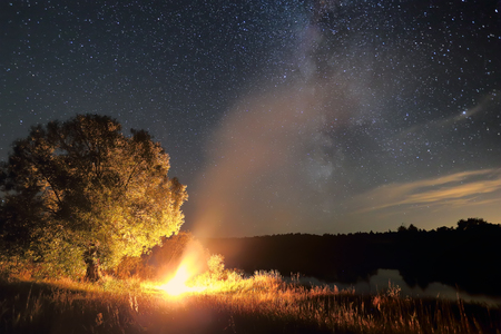 Night travel background. Bonfire at night under starry sky. Milky way over tree illuminated by bonfire. Beautiful night landscape. Lonely tree and bonfire at night.