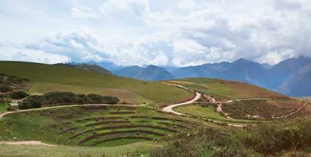 Sacred valley in Moray Peru with circle inca terraces landscape