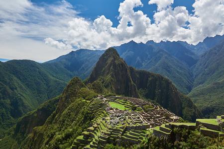 Green terraces in Peru Machu Picchu ancient city. Machu Picchud rone view
