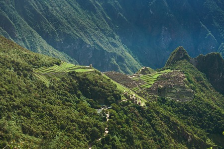 Terraces in mountain Machu Picchu town. Architecture ancient building of Incas