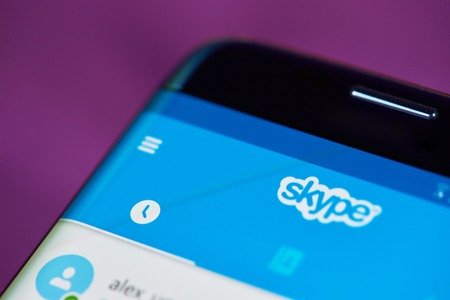 background skype: New york, USA - May 22, 2017: Skype application menu close-up on modern smarphone screen Editorial