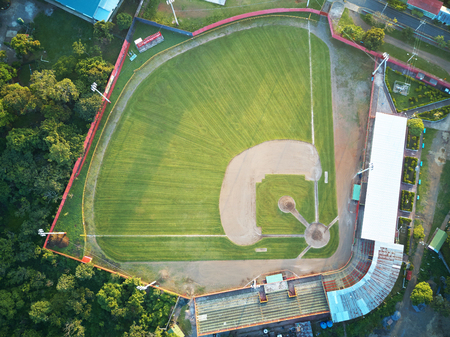 Above view on baseball field on sunny morning light