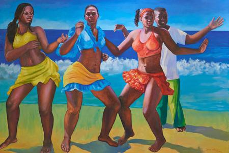 Managua, Nicaragua - June 13, 2017: African people dancing on beach colorful painting of caribbean artist Sergio J. Vauisquer Publikacyjne