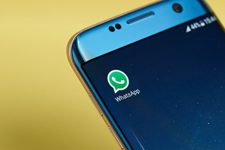 New york, USA - June 23, 2017:Whatsapp  messenger application icon on smartphone screen close-up. Whatsapp messenger app icon with copy space on screen