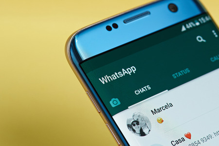 New york, USA - June 23, 2017: Whatsapp application menu on smartphone screen close-up. Using Whatsapp app
