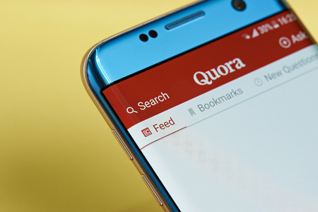 New york, USA - June 23, 2017: Quora application menu on smartphone screen close-up. Using Quora app