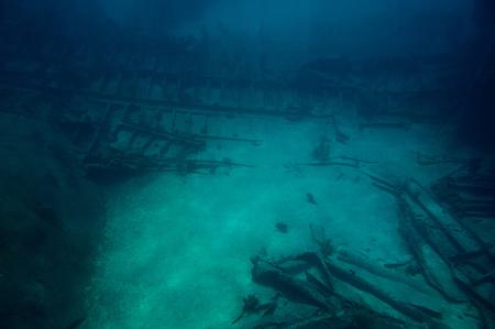 Shipwreck in deep caribbean sea. Glass bottom tour in Grand Cayman Stock Photo