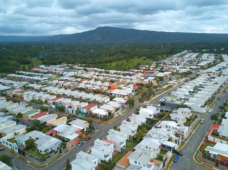 residential area: Neighorhood in residential area aerial top view