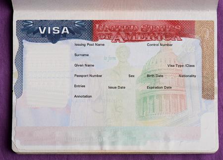 visa américain vide en préavis de visa . visa vide pour entrer état de l & # 39 ; amérique Banque d'images