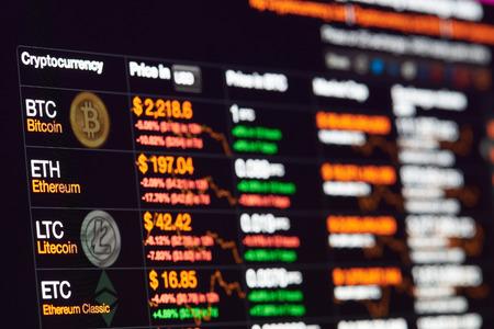 New York, USA - 14 luglio 2017: scambio di bitcoin con il tasso del dollaro sul display del monitor. Grafico di investimento in crittografia Archivio Fotografico - 82216286