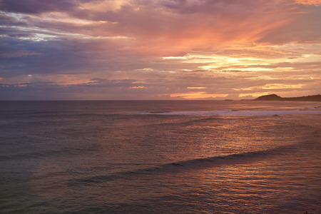 Oceanscape on sunset time in Nicaragua. Famouse surf beach Stock Photo