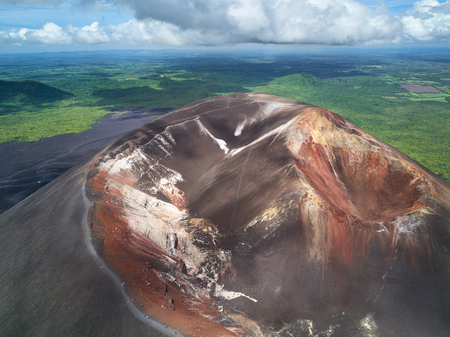 Crater of cerro negro volcano above view. Famous travelling place in Nicaragua