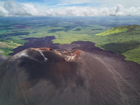 Landscape of Cerro Negro volcano from drone perspective