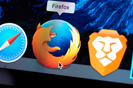 New york, USA - August 18, 2017: Firefox web browser icon on laptop screen close-up. Redactioneel
