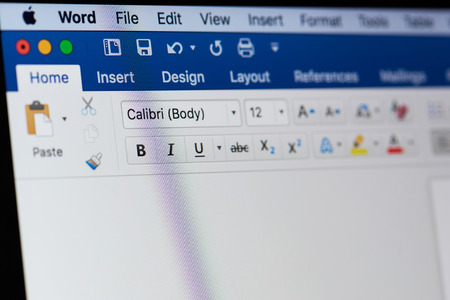 New york, USA - August 18, 2017: Microsoft office word menu on laptop screen close-up