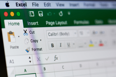 New york, USA - August 18, 2017: Microsoft excel menu on laptop screen close-up