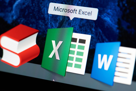 New york, USA - August 18, 2017: Microsoft excel icon on laptop screen close-up. Microsoft excel starting application Sajtókép