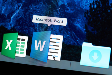 New york, USA - August 18, 2017: Starting microsoft word application on laptop screen close-up