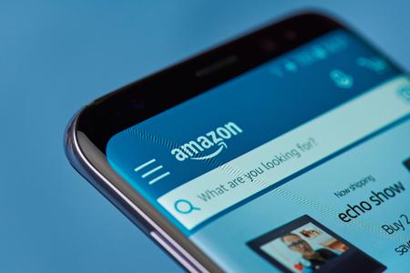 ニューヨーク、アメリカ合衆国 - 8 月 22 日 2017: タブレットのクローズ アップの画面上のアマゾン オンライン ショップ ページ。アマゾン ショッピ