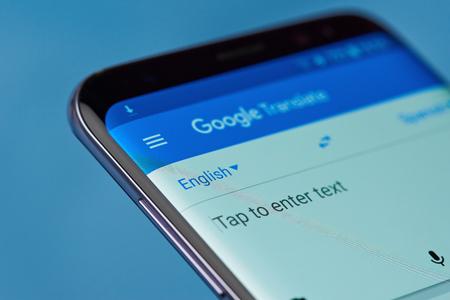 New york, USA - August 22, 2017: Google translate application menu on smartphone screen close-up