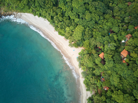 Beautiful colorful clean beach resort aerial above drone view