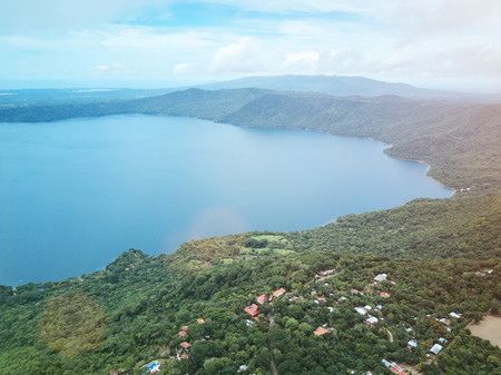 crater lake: Panoramic view on Apoyo lagoon in Nicaragua. Lagoon on sunny day drone view