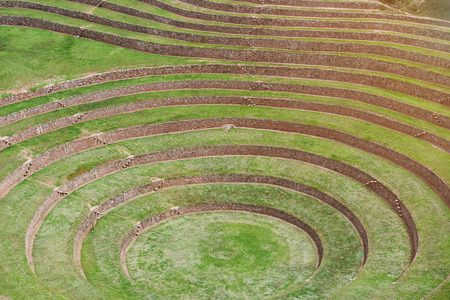 Round ancient terraces of peruvian inca. Agriculture field of old incas