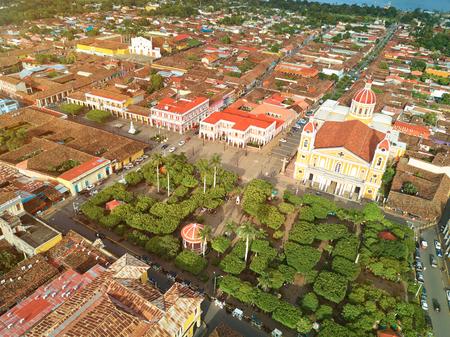 city park skyline: Tourist city Granada in Nicaragua aerial above view