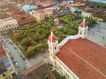 city park skyline: Tourism theme in Nicaragua. Sunny Granada city