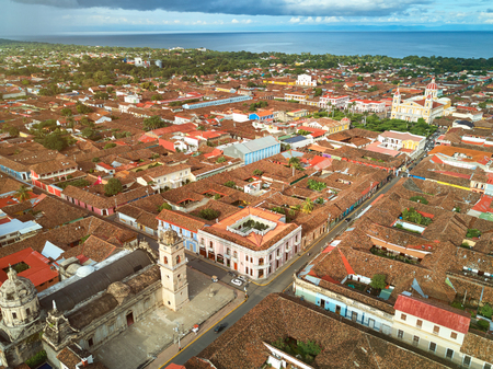 city park skyline: Tourist town Granada in Nicaragua aerial drone view