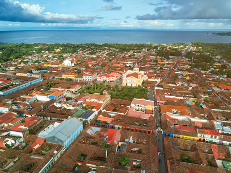 city park skyline: Historical town Granada in Nicaragua aerial above view