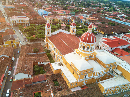 Streets in Granada city Nicaragua aerial drone view