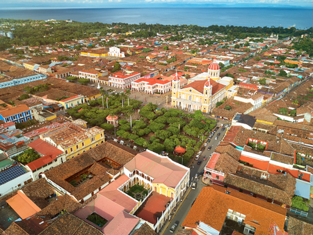 city park skyline: Cityscape of Granada town in Nicaragua aerial drone view Stock Photo