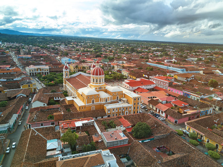 city park skyline: Cathedral in Granada Nicaragua aerial drone view Stock Photo