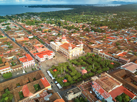city park skyline: Nicaragua travel background. Granada city aerial panorama view