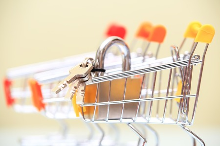 lock symbol: Real estate selling concept. Lock with keys in shiny shopping trolley closeup.