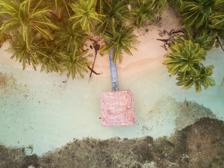 熱帯の島のバンガロー空中ドローンを見る