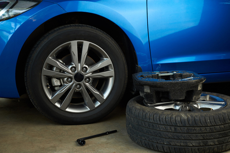 pneumatic tyres: Tools for changing car wheel. Car repair service