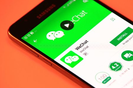 New York, USA - October 29, 2017: WeChat application in Play Store. WeChat application on smartphone. Editorial