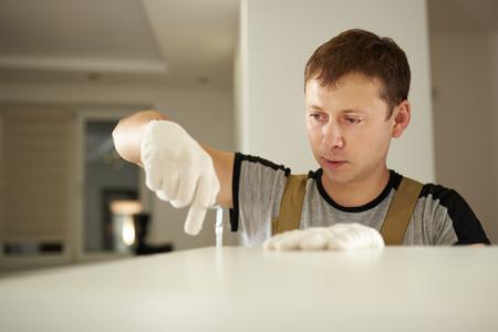Home man helper theme. Carpentry service theme