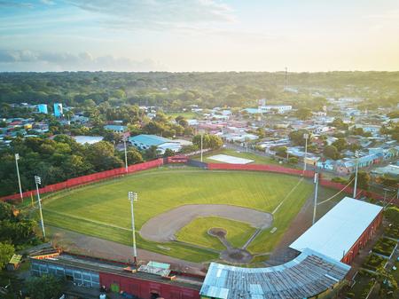 Baseball stadium  in morning sunny light aerial drone view Stock Photo