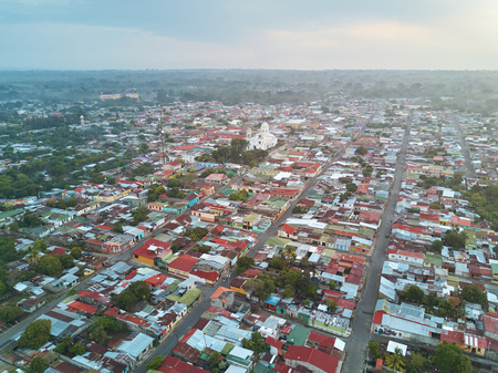 Aerial view on center Diriamba town. Small Nicaragua city