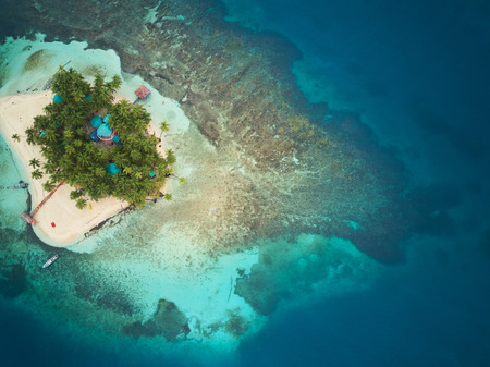 Coral island in Nicaragua caribbean sea aerial drone view 스톡 콘텐츠