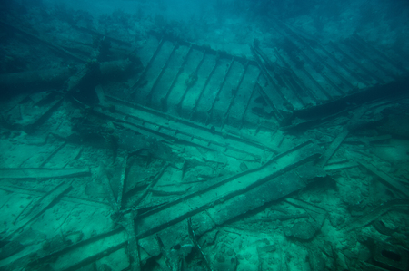 Glass bottom boat tour to old shipwreck in caribbean island. Diving activity on vacations