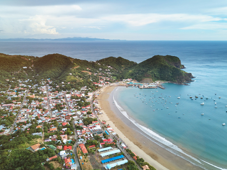Panoramic view of san juan del sur town from above