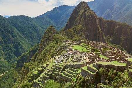 Photo from drone of Machu Picchu in peruvian mountain landscape