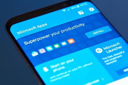 New york, USA - February 13, 2018: Microsoft apps  moblie menu application menu on smartphone screen close-up. Using Microsoft apps moblie menu