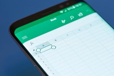 New york, USA - February 13, 2018: Excel  moblie menu application menu on smartphone screen close-up. Using Excel apps moblie menu