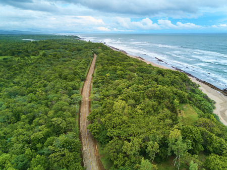Rurual road in coastline of Nicaragua. 4x4 adventure in rural area Stok Fotoğraf