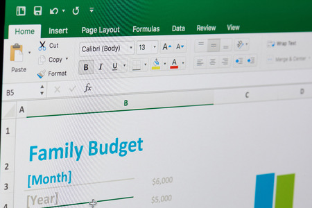 New york, USA - April 12, 2018: Family budget in microsoft excel on computer screen close up